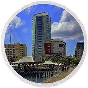 Round Beach Towel featuring the photograph Waterfront by Tony Murtagh