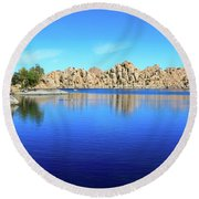 Watson Lake And Rock Formations Round Beach Towel