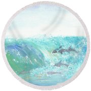 Wave Front Round Beach Towel