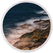 Waves And Rocks At Sozopol Town Round Beach Towel