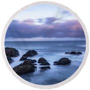 Waves At The Shore In Vesteralen Recreation Area Round Beach Towel
