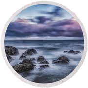 Waves At The Shore Round Beach Towel