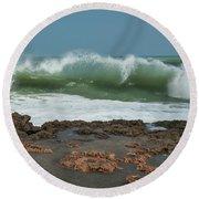 Waves At Work Round Beach Towel