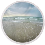 Round Beach Towel featuring the photograph Waves Crashing On Wrightsville Beach Before The Storm by Alex Grichenko