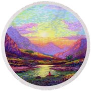 Waves Of Illumination Round Beach Towel