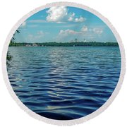 Waves On Lake Harriet Round Beach Towel