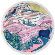 Wavy Rocks Round Beach Towel