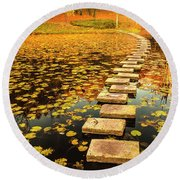 Way In The Lake Round Beach Towel