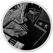 Weary Warrior. Round Beach Towel