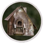 Round Beach Towel featuring the photograph Weathered Bird House by Dale Kincaid