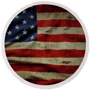 Weathered Old Glory Flag Usa Round Beach Towel