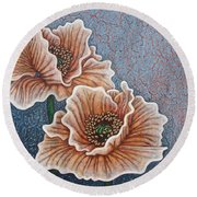 Round Beach Towel featuring the painting Weathered Splendor by Amy E Fraser