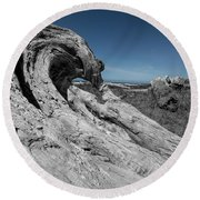 Weathered Wood On The Beach Round Beach Towel