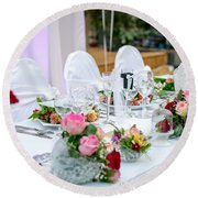 Wedding Table Round Beach Towel