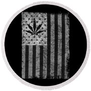 Weed Leaf American Flag Us Round Beach Towel