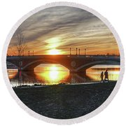 Weeks Bridge At Sunset Round Beach Towel