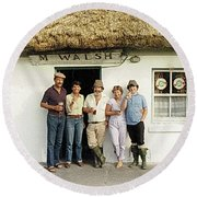 Round Beach Towel featuring the photograph Well Worth The Drive Accros Lough Mask  by Val Byrne