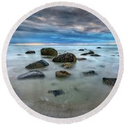 Round Beach Towel featuring the photograph Wells Beach In Blue by Rick Berk
