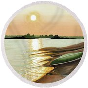 Round Beach Towel featuring the painting West Dejardin Bay by Kenneth M Kirsch