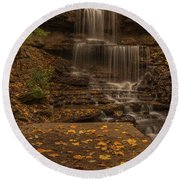 Round Beach Towel featuring the photograph West Milton Falls In Autumn by Dan Sproul