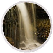 Round Beach Towel featuring the photograph West Milton Falls Vertical by Dan Sproul