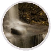 Round Beach Towel featuring the photograph West Milton Waterfall Details by Dan Sproul