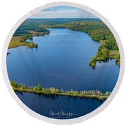 Round Beach Towel featuring the photograph West Thompson Lake by Michael Hughes