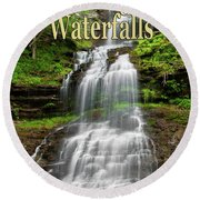 West Virginia Waterfalls Poster Round Beach Towel