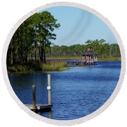 Western Lake Florida Round Beach Towel