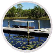 Western Lake Round Beach Towel