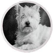 Westie Dog Round Beach Towel