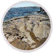 Wet Rocks Round Beach Towel