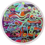 Round Beach Towel featuring the painting What The Thunder Said by Denise Weaver Ross