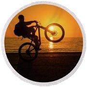 Wheelies At Sunset Round Beach Towel