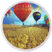 When The Sky Blooms Round Beach Towel