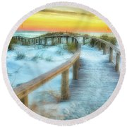 Where The Path Leads Round Beach Towel