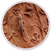 Whimsical And Lifelike Carvings On Heidelberg Castle Round Beach Towel