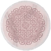 Round Beach Towel featuring the digital art Whimsical Burgundy Mandala by Georgeta Blanaru