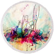 Round Beach Towel featuring the painting Whisper In My Ear by Tracy Bonin