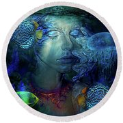 Whispers From The Sea Round Beach Towel