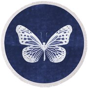 White And Indigo Butterfly- Art By Linda Woods Round Beach Towel