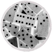 White Dots Black Chips Round Beach Towel
