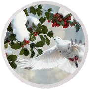White Dove And Holly Round Beach Towel
