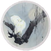 White Egret And Moon - Digital Remastered Edition Round Beach Towel