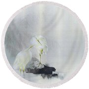 White Egret - Digital Remastered Edition Round Beach Towel