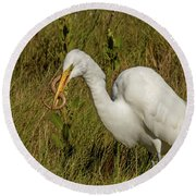 White Heron With Snake Round Beach Towel