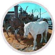 White Horse Iron Horse Round Beach Towel