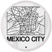 White Map Of Mexico City Round Beach Towel