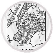White Map Of New York Round Beach Towel