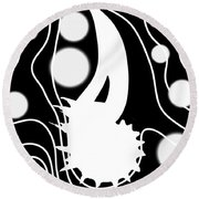White On Black Lost Tail Round Beach Towel